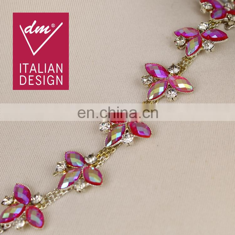 Hot sale colorful rhinestone chain trim for clothing