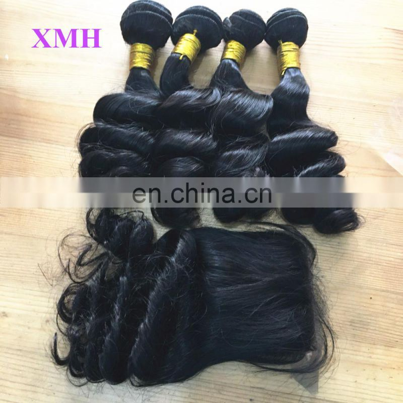 High Quality 4*4 silk base closure 180%density loose wave 100%unprocessed virgin cuticle aligned hair