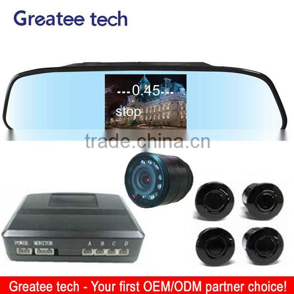 4.3 inch display mirror video parking sensor system with IR night view camera