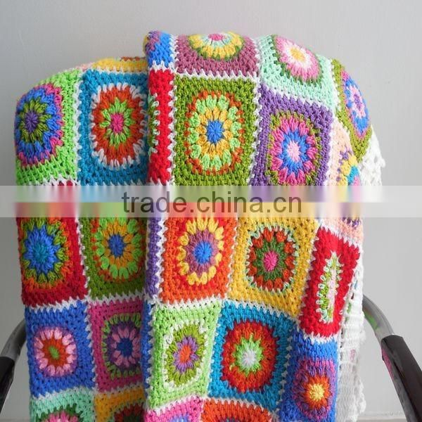 Crochet handmade blanket colorful baby blanket rug throw blanket