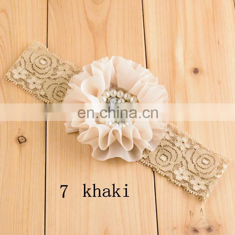 NEW lace Baby Headbands Boutique flower +pearl hair accessories for kids