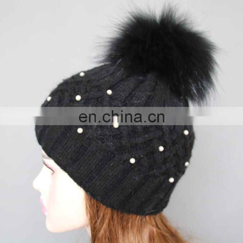 Fashion design black knitted pattern wool blend hats with fur pom