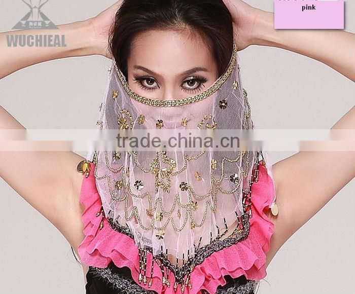 Indian Style Beaded Mysterious Belly Dance Face Veil for Performance