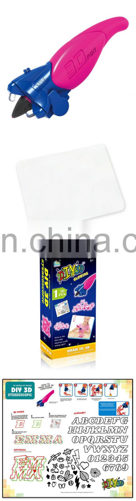 Kids hot selling glow in the dark diy mold intellectual toys 3d pen