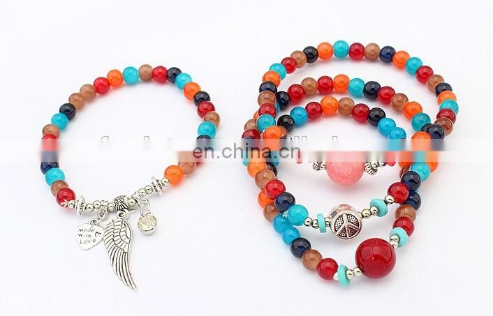 Fashion jewelry Wings bracelets multilayer classic glass beads bracelet setting