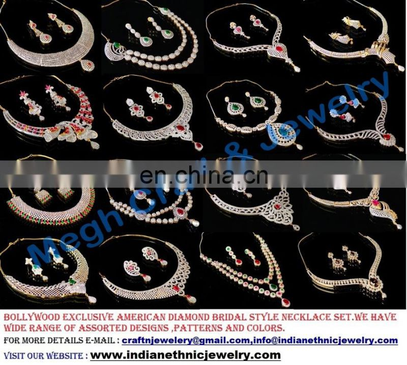 Indian Wedding wear CZ Necklace set - Wholesale American Diamond Jewellery - 2016 fashion jewelry