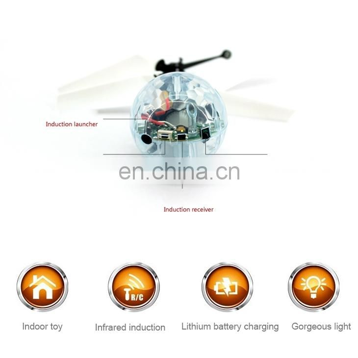 Mini Fun Kids Toy Suspended Crystal Ball Sensing Aircraft Hand Induction Flying Aircraft with Colorful LED Light, without Remote