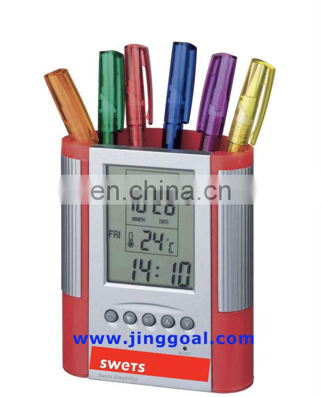 Plastic clock pencil holder