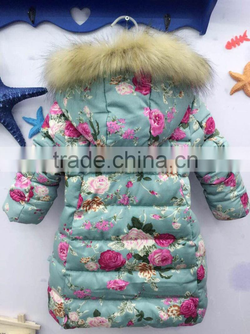 High quality new design floral winter down coat for kids wear winter jacket wholesale warm winter baby clothes (ulik-J005)