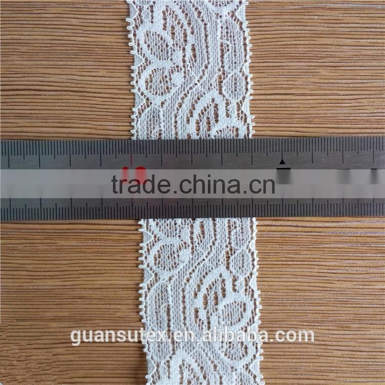 White Nylon Elastic Trimming Lace Fabric For Borders Decorations
