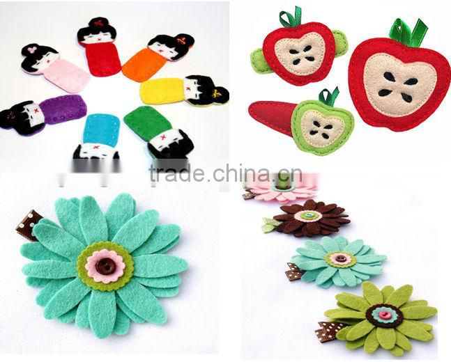 New products 2017 hot wholesale China100% handmade high quality fancy clips graphic design colored girls hair accessories