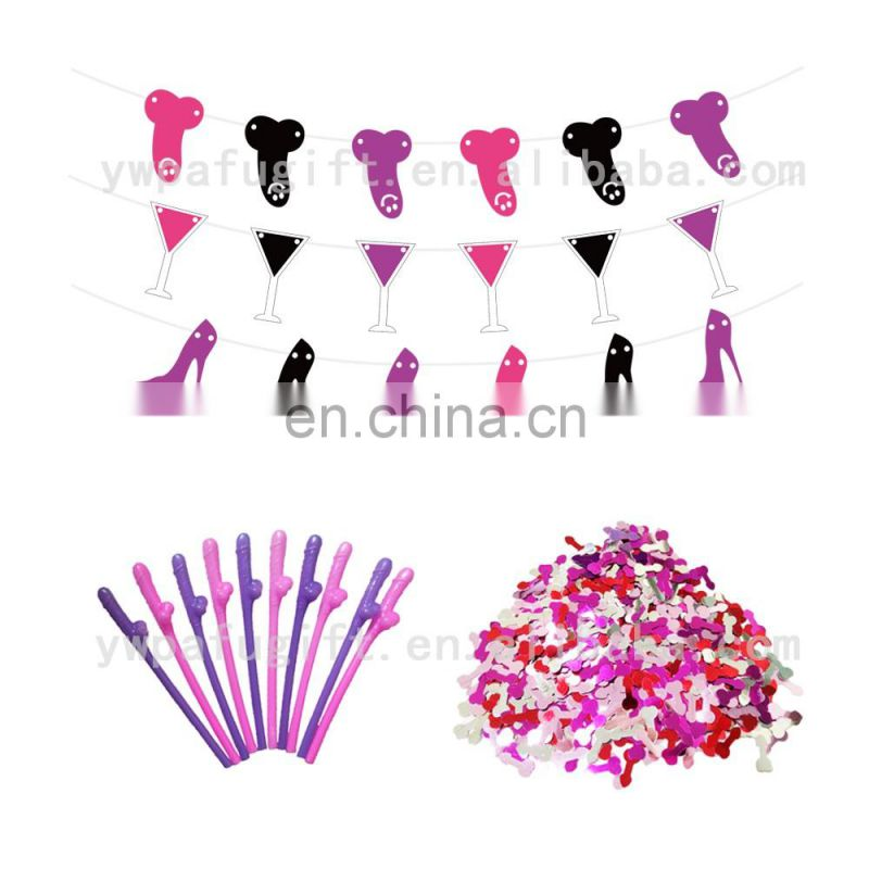 Bachelorette Bridal Shower Party Decoration Supplies banner penis straw willy confetti