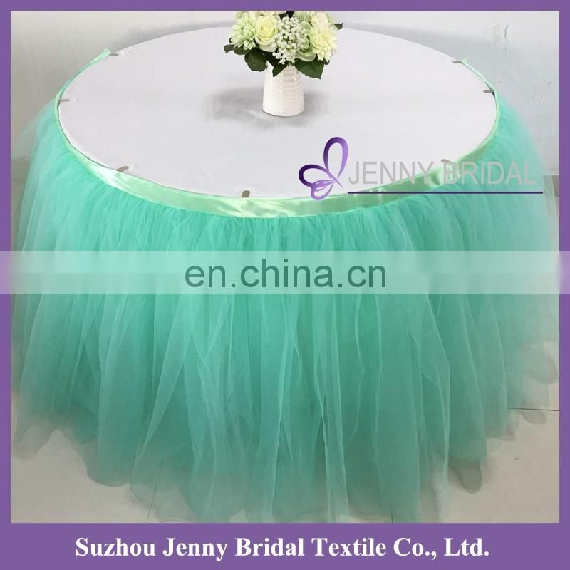 TS091#73 blue tulle materials in table skirting designs for wedding