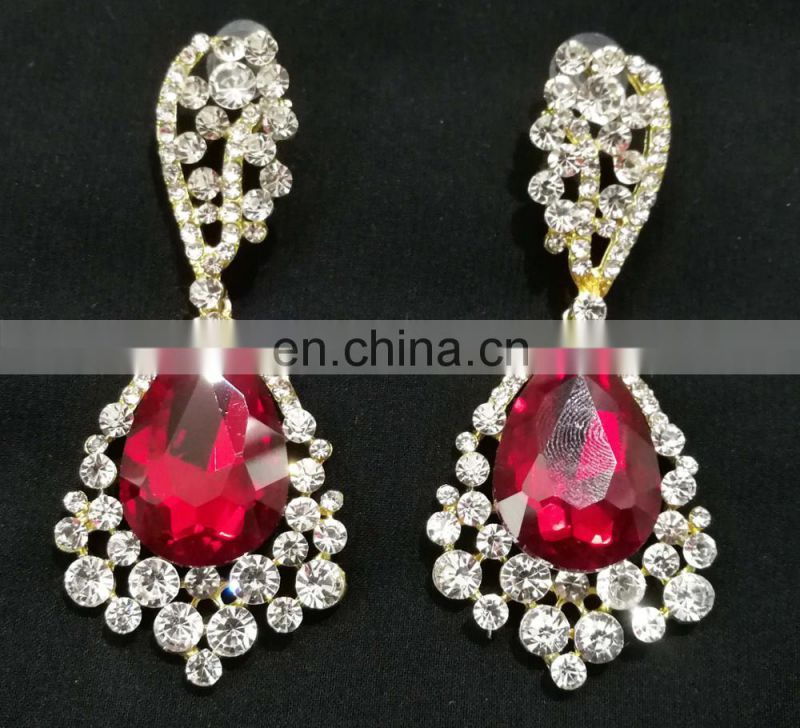 Best Dark-Red Color Droplet Stone Collection Cubic Zerconia Gold Plated Party Wear Earrings Set