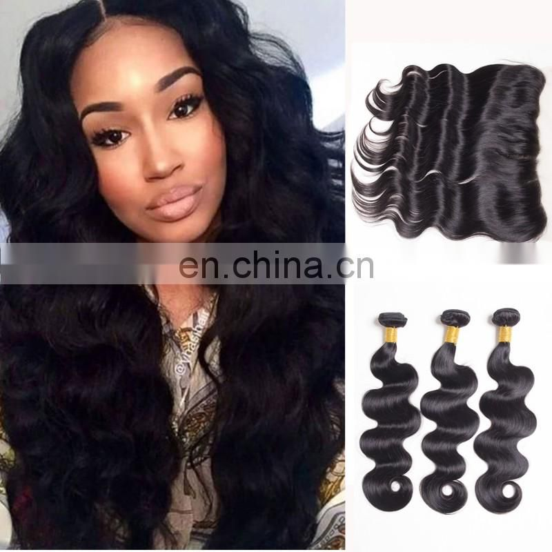 raw indian hair frontal pre plucked 13*4 ear to ear illusion lace frontal with bundles