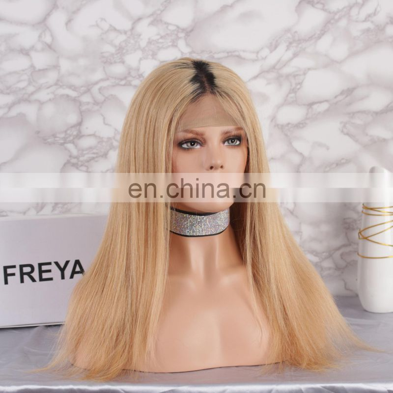 2018 new fashion hot selling brawn color with dark roots full lace wig brazilian human hair
