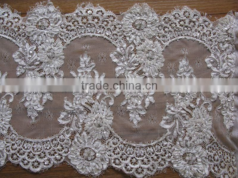 royalblue French Net Lace Fabric Tulle Lace For Wedding with rhinestones/beaded embroidery bridal laces fabrics/korean lace