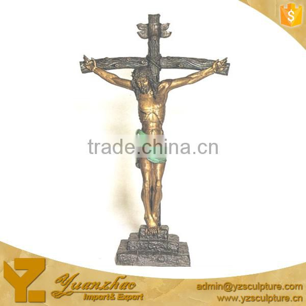 antique large brass statue of Jesus on the cross for home decoration