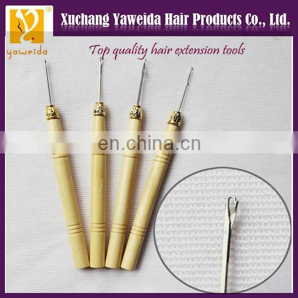 Wholesale price hot sales wooden handle hair extension hook, hair extension pulling needle