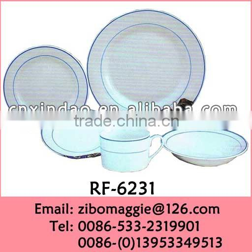Round Shape Hot Sale 20pcs Custom Print Porcelain Promotion Sets Dinnerware Tableware