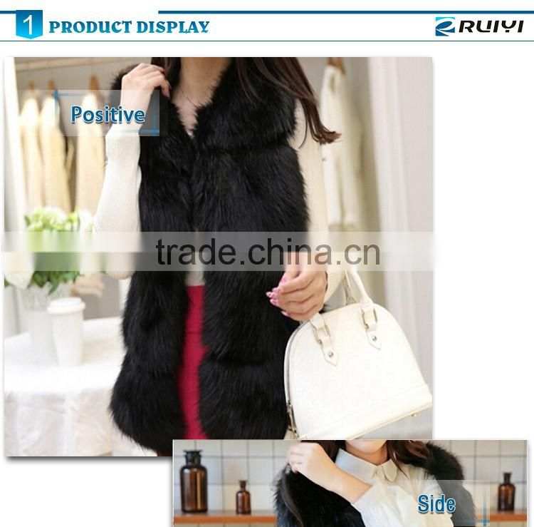 European style luxury winter sleeveless fox fur gilet for women artificial fur thick warm waistcoat