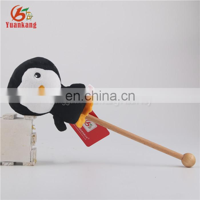 ODM 15cm penguin massage stick plush stuffed toy for kids