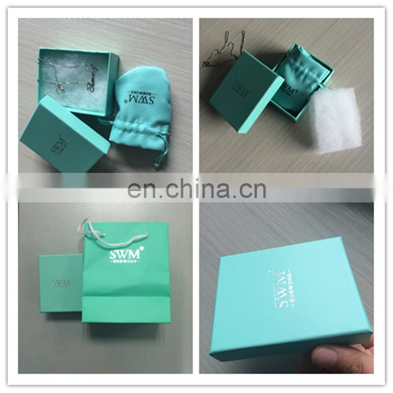 Free Risk Top Design Beautiful Light Blue Necklace Paper Box ,Velvet Pouch Bag,Paper Bag For Set