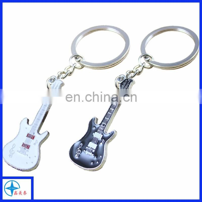metal mini guitar shape key chain