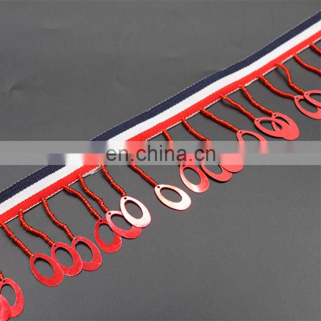 Fashion high quality red color plastic bead with ribbon trim tassel beaded fringe trim for clothing