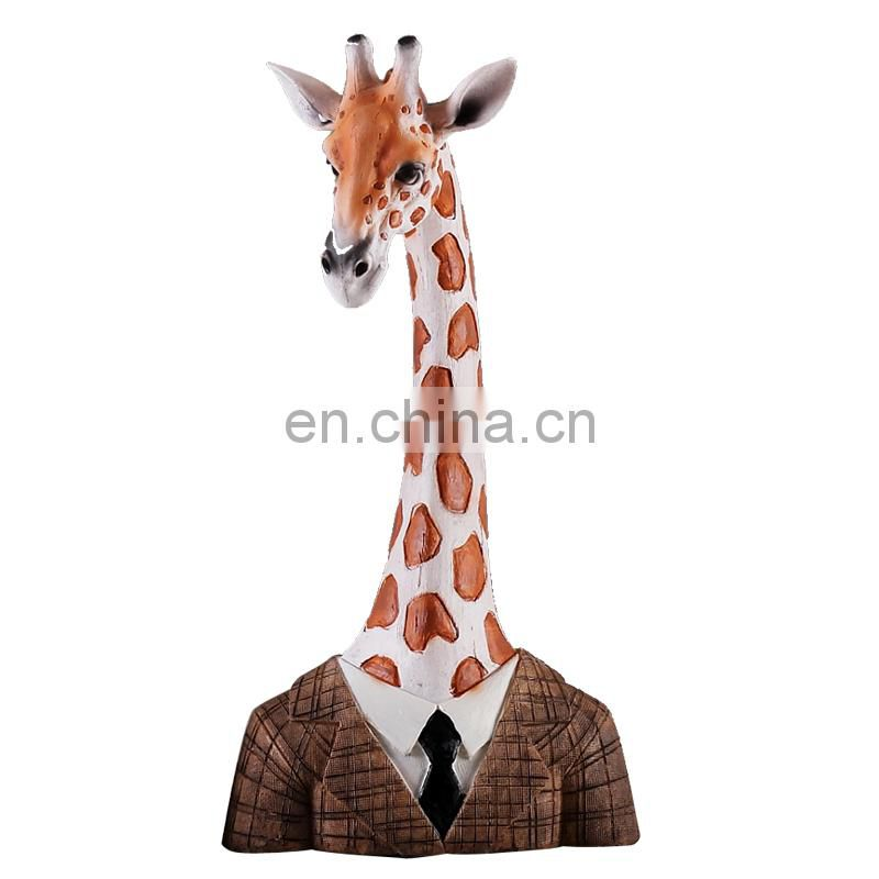 giraffe bust animal figure set on the desk for decoration
