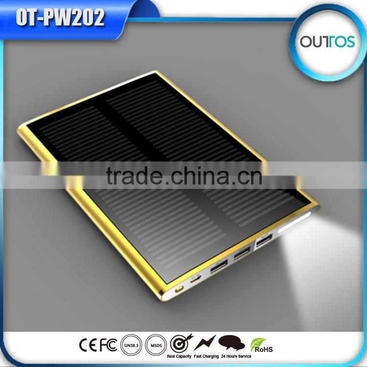 Alibaba China Good Quality Solar Charger Power Bank Waterproof with 3 Usb Outputs