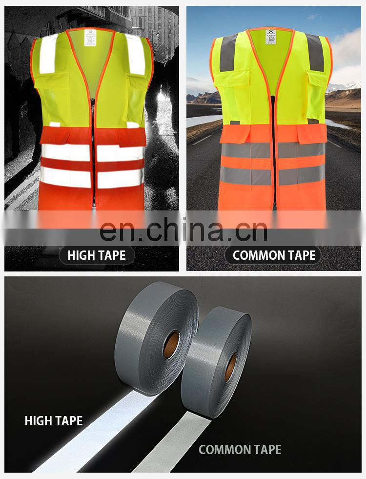 wholesale polyester high visibility fluorescent reflective raincoat safety jacket