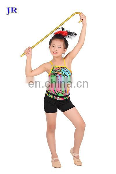 Chic confetti colour children girls stage latin jazz dance costume with top and pant ET-022