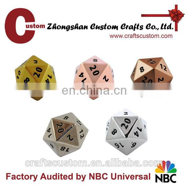 Custom 12mm 20sides metal printed dice manufacturers