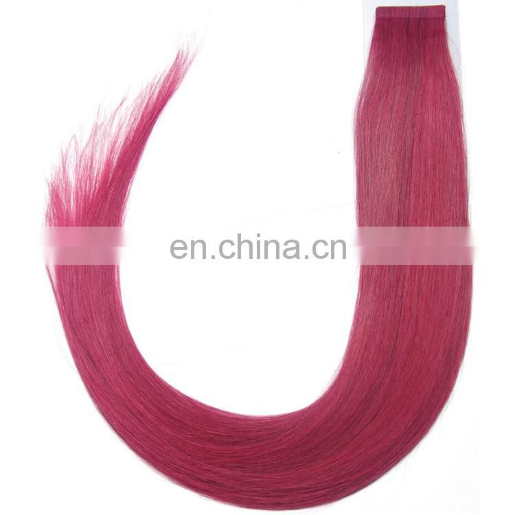 Remy indian hair tape weft extensions color burgundy silky straight PU weft extensions