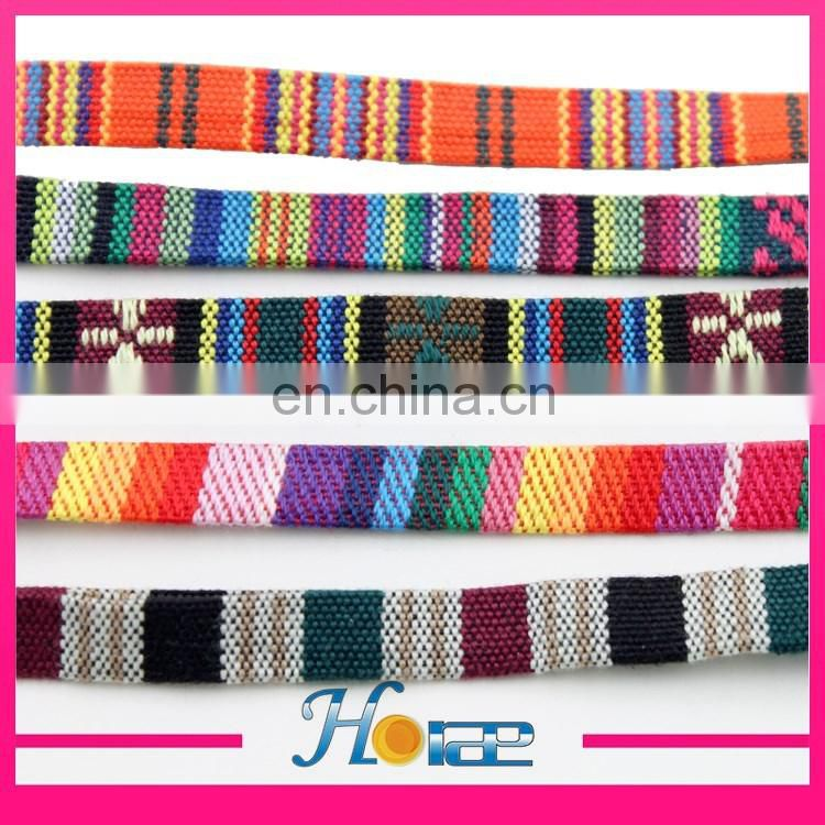 Wholesale 1cm lace trim width aztec design ribbon for shoe bag