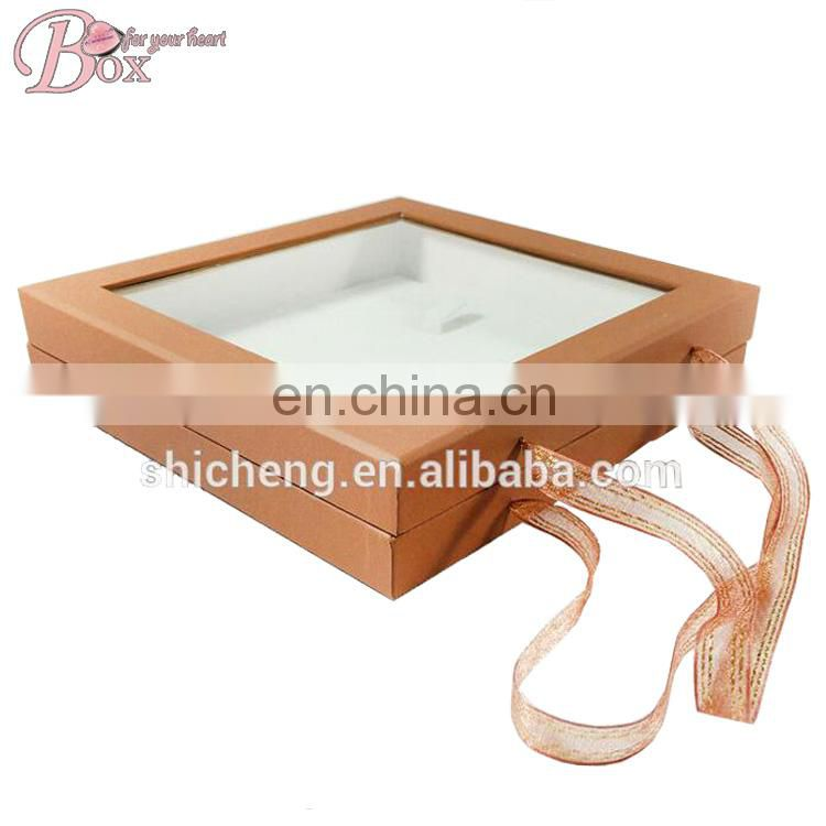 Light Brown Silk Ribbon Jewelry Box with Mirror