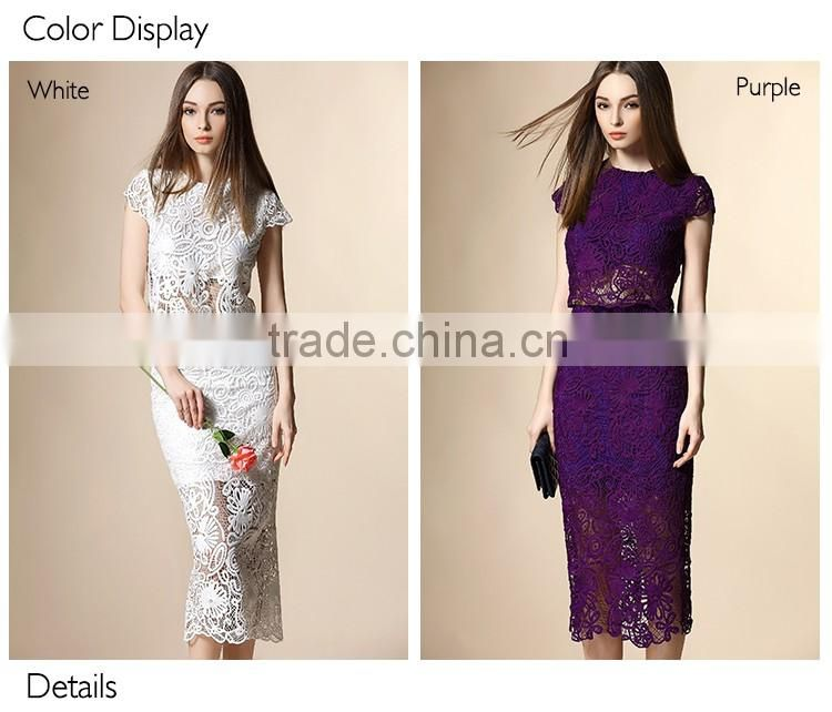 2016 top quality latest dress designs ladies suit,lace Middle-skirt