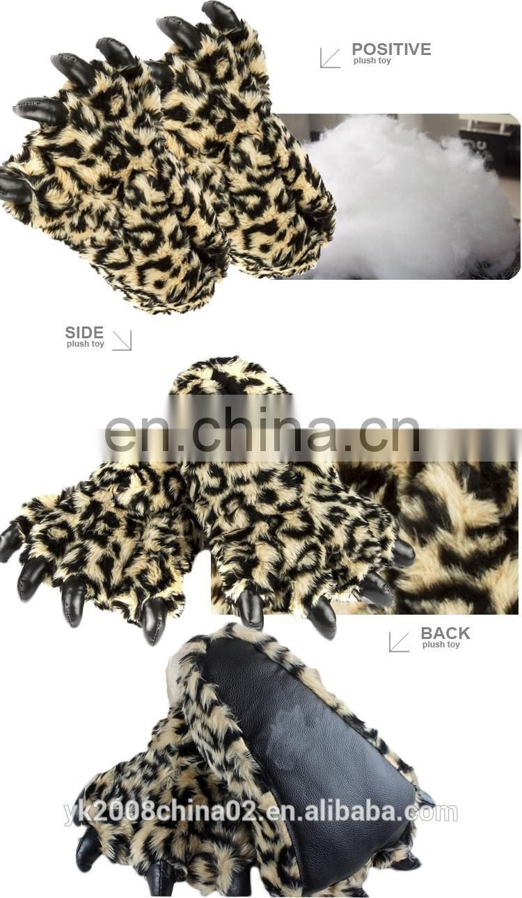 YK ICTI wholesale leopard print hilarious cotton embroidery PLUSH SLIPPERS