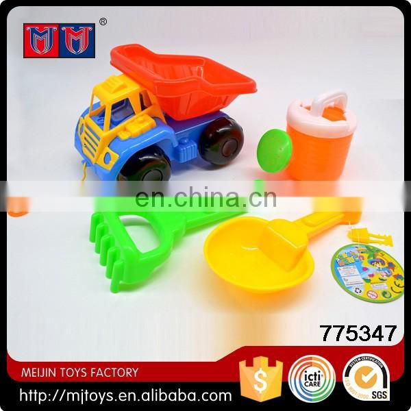 Meijin cheap plastic colorful sand beach toys set with funny truck for sale