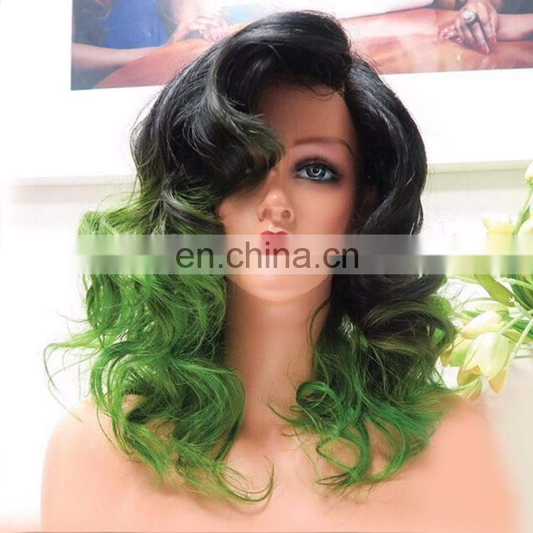 8A Grade Green Ombre Wig Body Wave Virgin Brazilian Human Hair Lace Front Wig 1BTGreen Hair Wig With Natural Hairline For Women