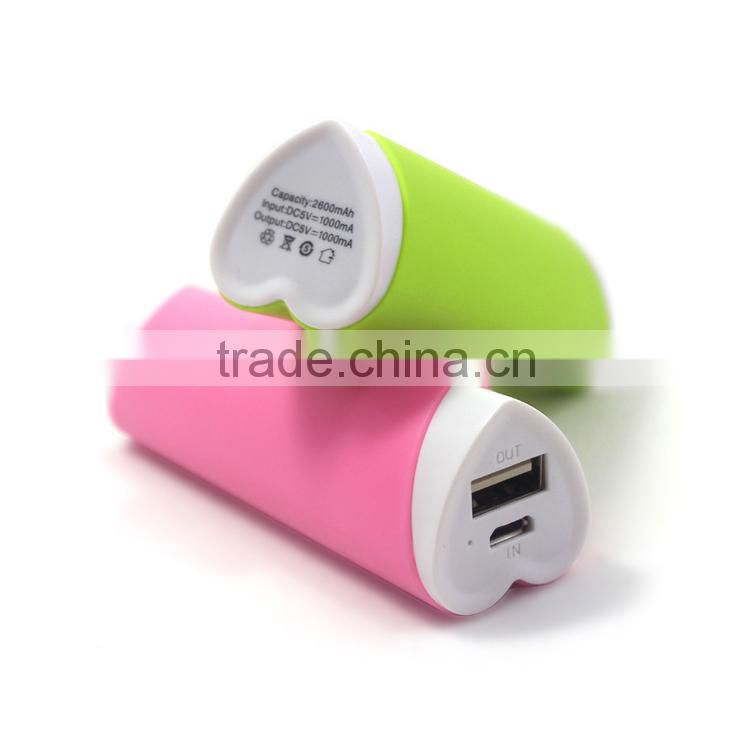 Factory free custom logo lovely heart shape power bank 2200mah