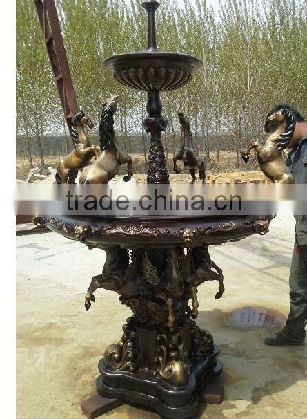 custom design casting bronze outdoor water fountain with horse NTBF-L401S