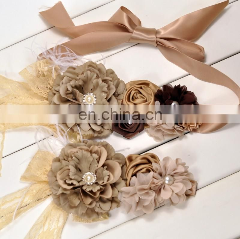 Vintage Sash & Headband Set With Lace Pearl Luxe Floral Crown Grey Flower Ribbon Sash