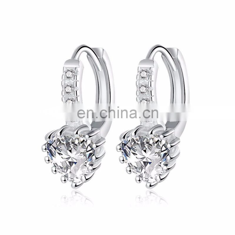 New Arrival Cute Stud Silver Jewelry Earrings Latest Hanging Rhinestone Clip On Earrings