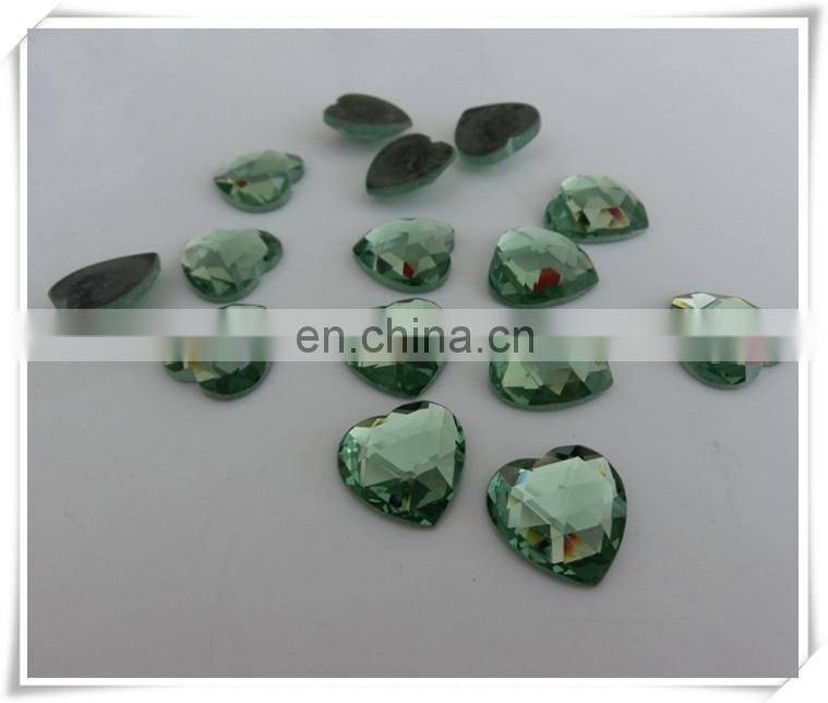 Factory Direct Sale Heart Faceted Flat Back glass gemstone
