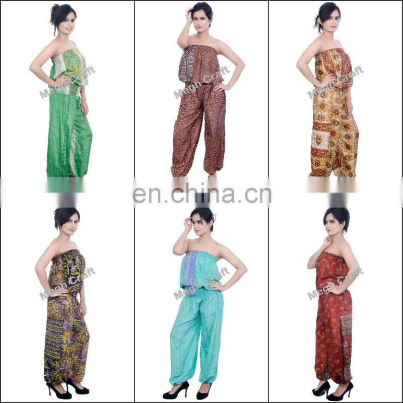Silk Romper Jumpsuit - Fashion Wear floral jumpsuit - designer jumpsuits for ladies - Indo Western Indian Jumpsuits