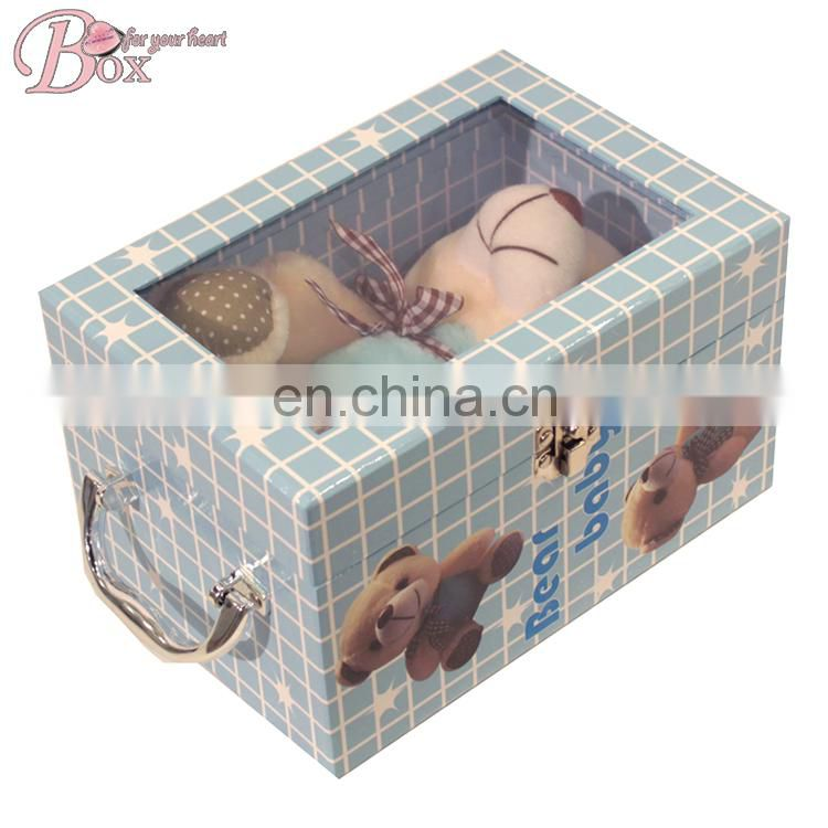 Customized HIgh Quality PVC Window Metal Lock Cardboard Suitcase Box
