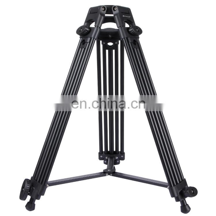 PULUZ 3 in 1 (Tripod + Bowl Adapter + Black Fluid Drag Head) Heavy Duty Video Camcorder Aluminum Alloy Tripod Mount Kit for DSLR