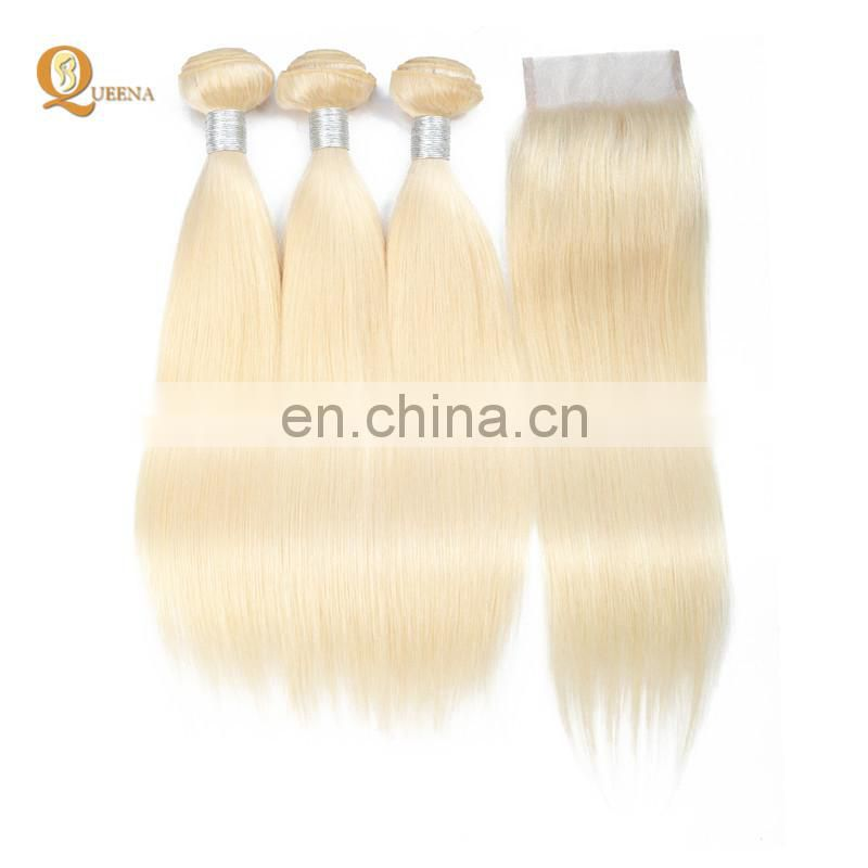 Blonde Hair Bundles with Lace Closure Virgin Blonde Hair 613 Color Weave Human Hair